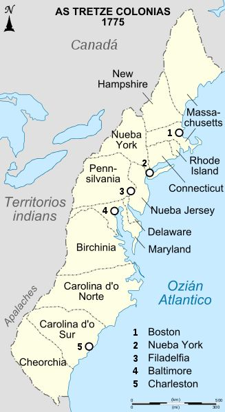 The Colonial Period As Described By An Map Of The Original - Us 13 colonies map