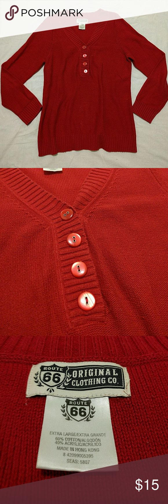 Loved Red Button Sweater Adorable red sweater. Super comfortable. Buttons are just decoration. Route 66 Sweaters V-Necks
