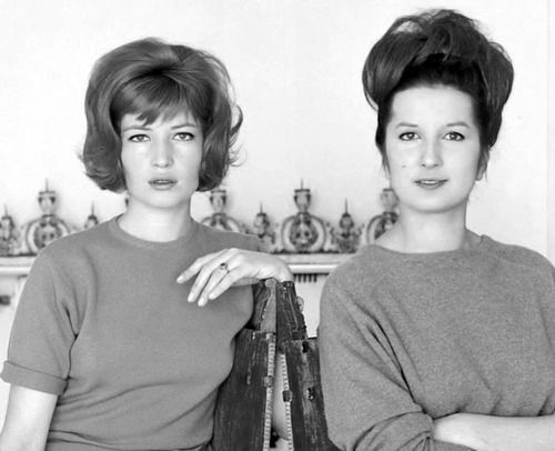 Monica Vitti and the singer Mina during filming of Antonioni's ''L'eclisse'' (1962).