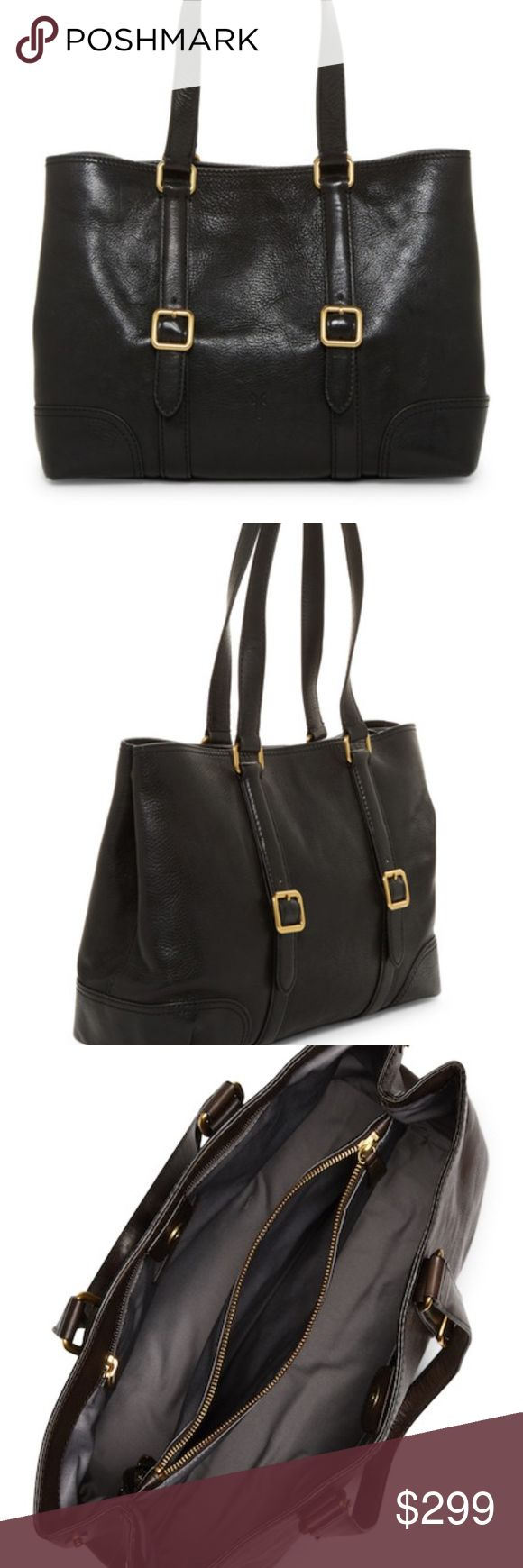 Frye Claude Black Leather Tote Bag Details Tumbled, full-grain Italian leather enhances the polished look of a spacious tote with plenty of room for electronics, books or a water bottle. A buckled-strap detail with antiqued brass hardware lends vintage charm. - Dual top handles - Magnetic snap-tab closure - Exterior features adjustable buckle details and metal feet - Interior 1 zip divider, 2 compartments, 1 zip wall pocket and 2 media pockets, and 1 key clip - Imported Materials Leather…