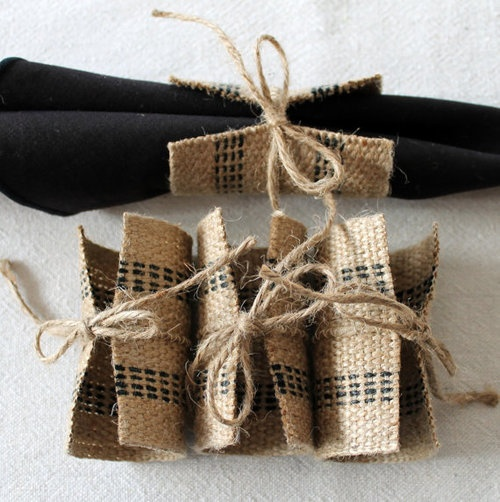 wedding idea of the day burlap silverware holders and napkin rings via blog