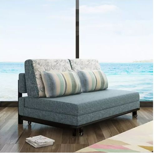 Wholesale Linen Foam Sleeping Foldable Sofa Bed (192*120cm) with Steel Frame Linen Fabric Throw Pillows Item No. F01D1