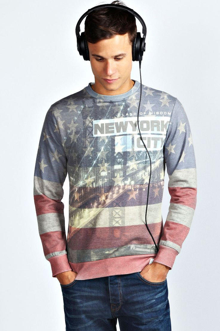 Stars and Stripes NYC Sublimation Print Sweater at boohoo.com