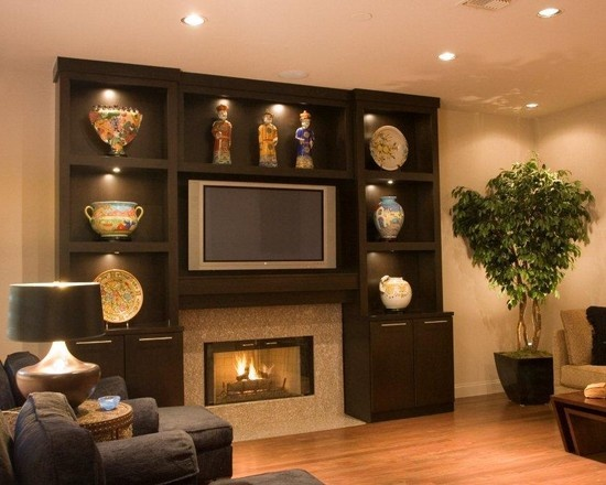 Added Storage Over Tv Fireplace Tv Design Pictures