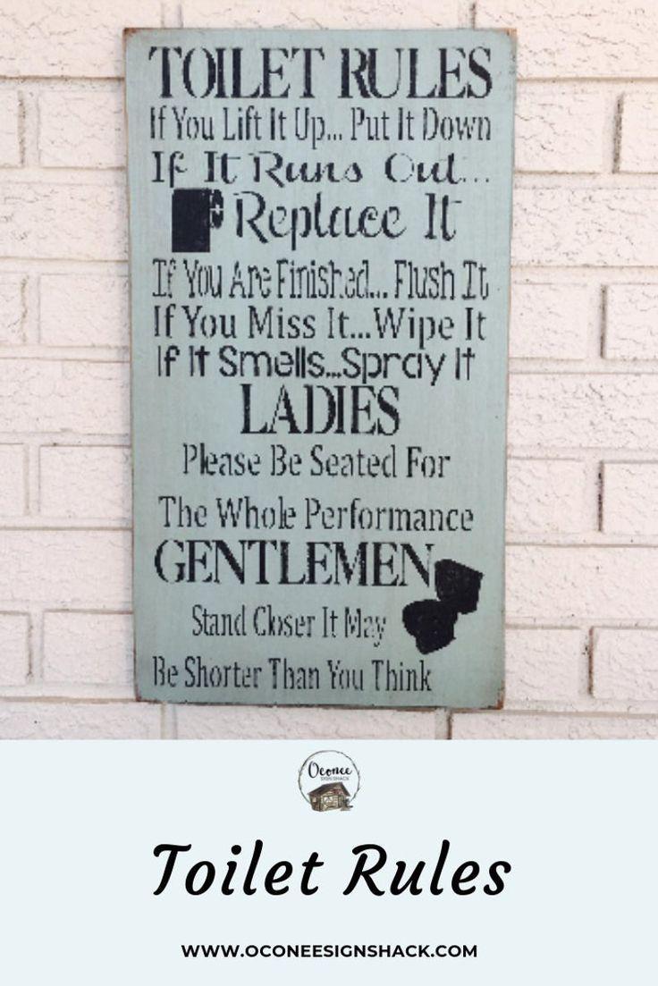 Toilet Rules Sign Bathroom Rules Toilet Rules Bathroom Rules