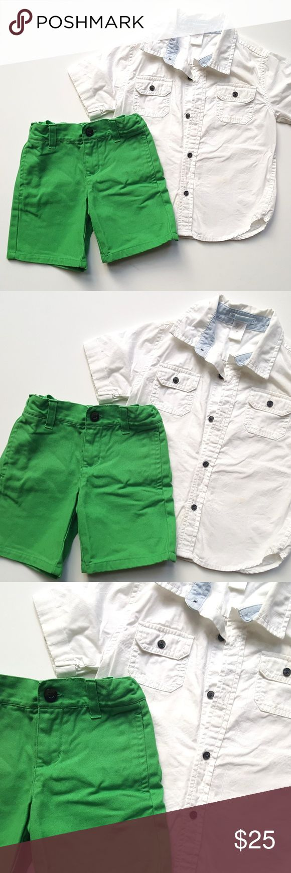 Janie and Jack Classic Red Bicycle Shirt Shorts Janie and Jack Classic Red Bicycle Shirt & Green Bar Harbor Breeze Shorts Set  Size 2t   Condition: GUC , some light scattered spots on shirt, light fade on the shorts   My items come from a smoke-free household, we do have a kitty, so an occasional hair may occur! Janie and Jack Matching Sets