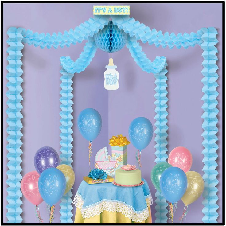 Amazon.com: Itu0027s A Boy Party Canopy Party Accessory (1 Count) ( · Blue Baby  ShowersBaby Shower ...