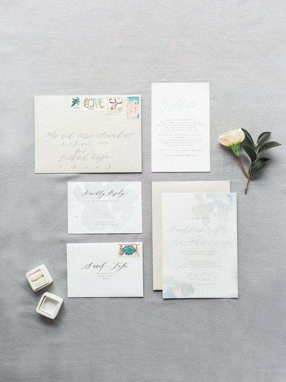 Custom Calligraphy Invitation Suite  Aquarelle  Flat Foil