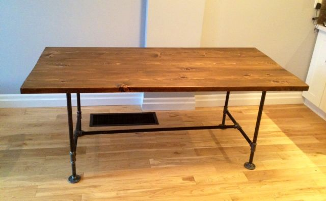 diy pipe wood dining table home renovation diy pinterest