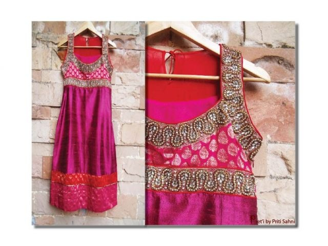 Fuchsia Raw Silk Straight Dress  Indian Women's Designer Suit/ Salwar Kameez  by Priti Kamath Sahani only on www.tadpolestore.com