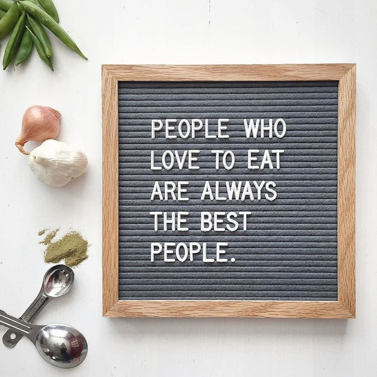 """""""People who love to eat are always the best people."""" The Letterfolk Poet Grey is an elegant and versatile letter board. Ideal for succinct messages, this square board can be hung on the wall, leaned on a side table, or easily transported and used as a photography prop."""