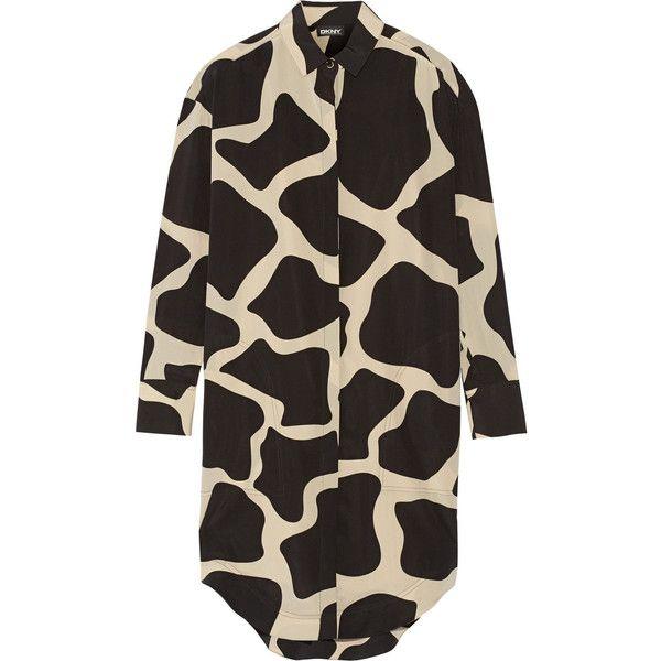 DKNY Printed stretch-silk shirt dress ($355) ❤ liked on Polyvore featuring dresses, black, long black shirt dress, dkny, dkny dresses, black dress and giraffe print dress