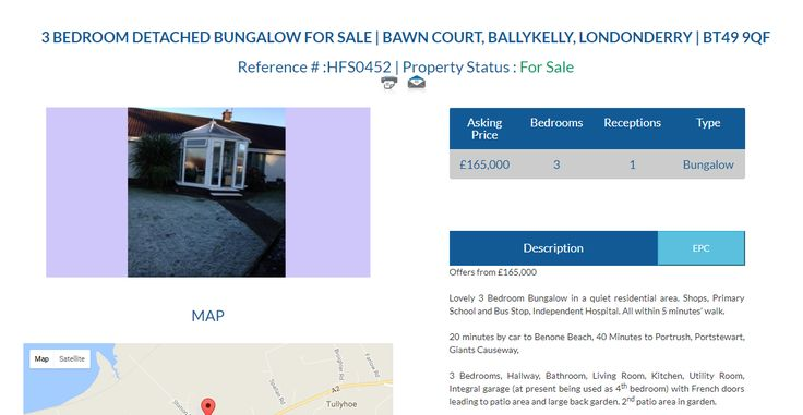 HFS0452 3 BEDROOM DETACHED BUNGALOW FOR SALE Asking Price £165,000 Location Bawn Court, Ballykelly, Londonderry | BT49 9QF #DetachedBungalow #Bungalow #BungalowForSale #3Bedroom #Ballykelly #Londonderry #Ownersellers #FreeOnlineEstateAgent #SellingYourHouseOnlineForFree #FreeOnlineEstateAgency #FreePropertyValuationOnline