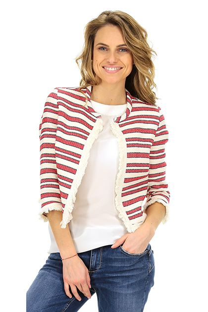 Kocca - Giacche - Abbigliamento - Giacca in cotone e lino con manica a tre quarti, collo alla coreana e frange sulle bordature. Gancetto singolo di chiusura. - F7001 - € 105.74