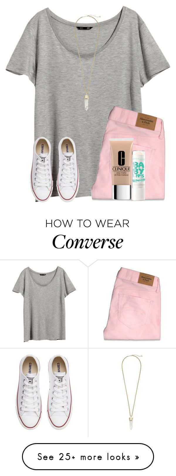 """read d pls!!!!"" by smileyavenuegirl on Polyvore featuring H&M, Abercrombie & Fitch, Converse, Clinique, Maybelline and Kendra Scott"