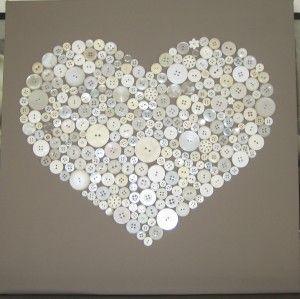 idee: Wit canvas schilderij. Deze in een bruine kleur geverfd. Daarna knopen…