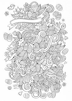Easter Eggs Bunnies Baskets In A Beautiful Doodle Free Coloring PagesColoring