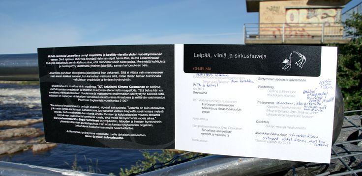 Kutsu, hotelli-ravintola Lasaretti, sisäsivu. Suunnittelu: Heidi Sarjanoja/Valokki Design.
