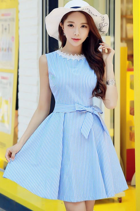 Pinstripe Ribbon Waist Tie Sleeveless Flared Dress