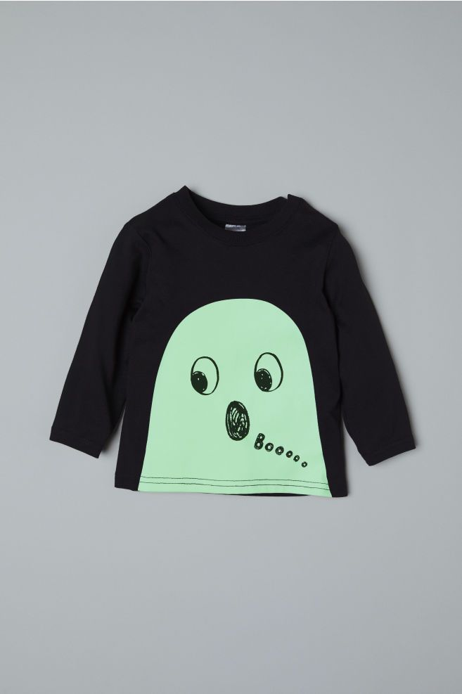 H&M Halloween 2020 Top with Printed Design   Black/ghost   Kids | H&M US 2