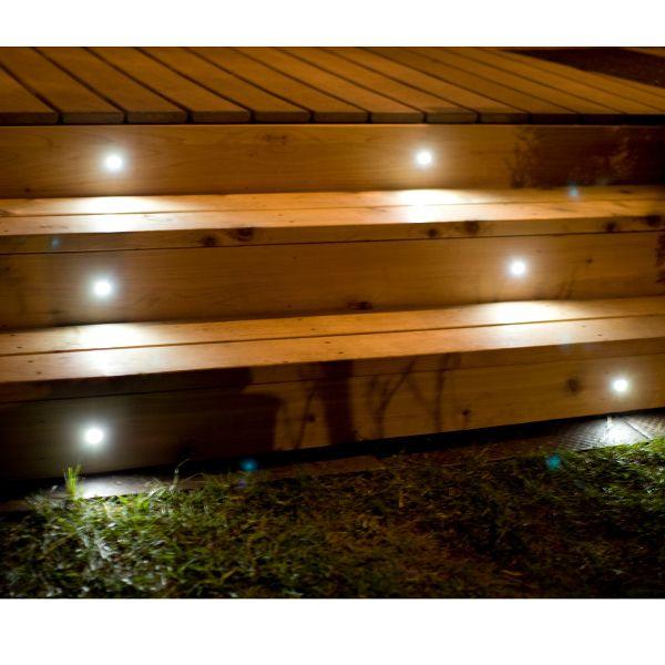 Mini Round Recessed Led Riser Light By Highpoint Deck Lighting Deck Lighting Outdoor Deck Lighting Solar Deck Lights