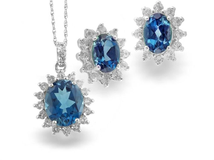 925 Sterling Silver Oval London Blue Topaz and White Topaz Pendant and Earrings Set