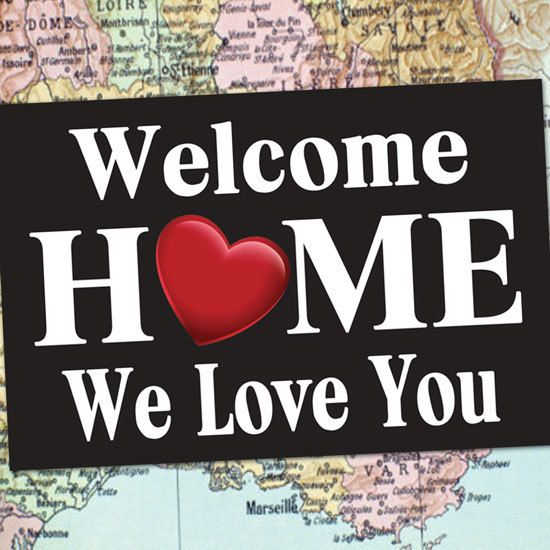 WELCOME HOME Poster or Banner can be ANY size--just let us know! Your 2x3 printed banner will have clear vinyl grommets on all 4 corners--for ease of hanging or holding. A perfect way to celebrate your loved ones return from deployment, boot camp, travel, or an LDS Mission! Its an