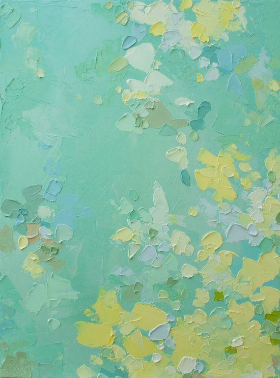 Gotas de rocío - pintura al óleo original en verdes frescas, pastel azul-verdes y amarillos pálidos (31x41 cm -. Aplicación 12x16 in)