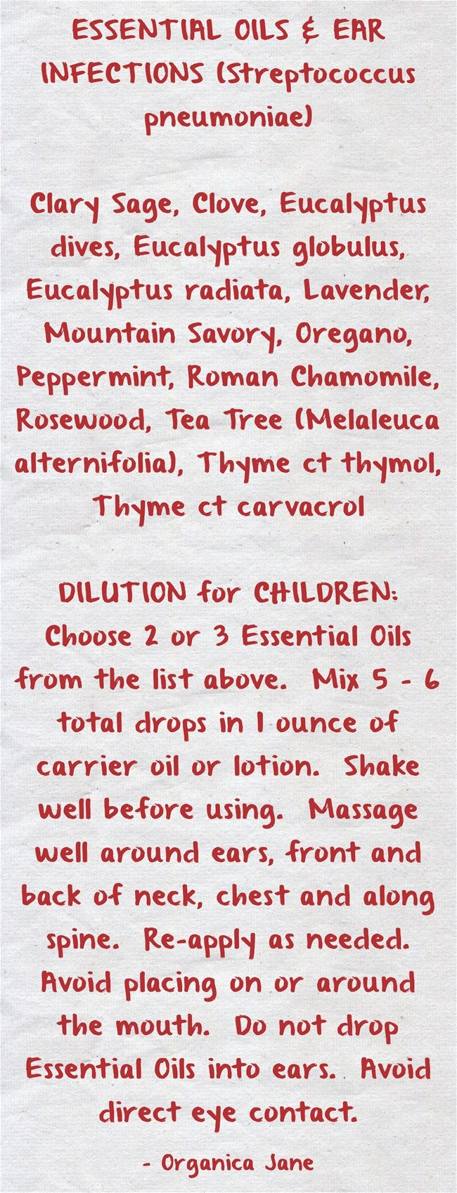 ESSENTIAL OILS & EAR INFECTIONS (Streptococcus pneumoniae) Clary Sage, Clove, Eucalyptus dives, Eucalyptus globulus, Eucalyptus radiata, Lavender, Mountain Savory, Oregano, Peppermint, Roman Chamomile, Rosewood, Tea Tree (Melaleuca alternifolia), Thyme ct thymol, Thyme ct carvacrol DILUTION for CHILDREN: Choose 2 or 3 Essential Oils from the list above. Mix 5 - 6 total drops in 1 ounce of carrier oil or lotion. Shake well before using. Massage well around ears, front...