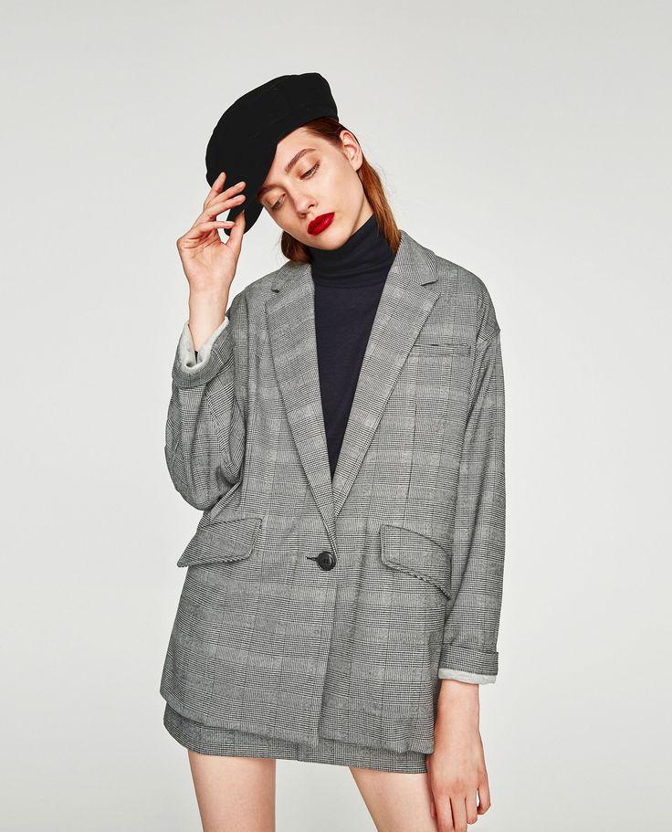Image 2 of OVERSIZED CHECKED BLAZER from Zara