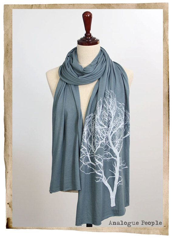 Screen Printed Jersey Long Scarf  Tree Deep by AnaloguePeople, $28.00
