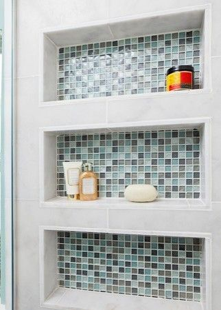 Great alternative to the metal shelves that get rusty and gross- recessed shelving storage