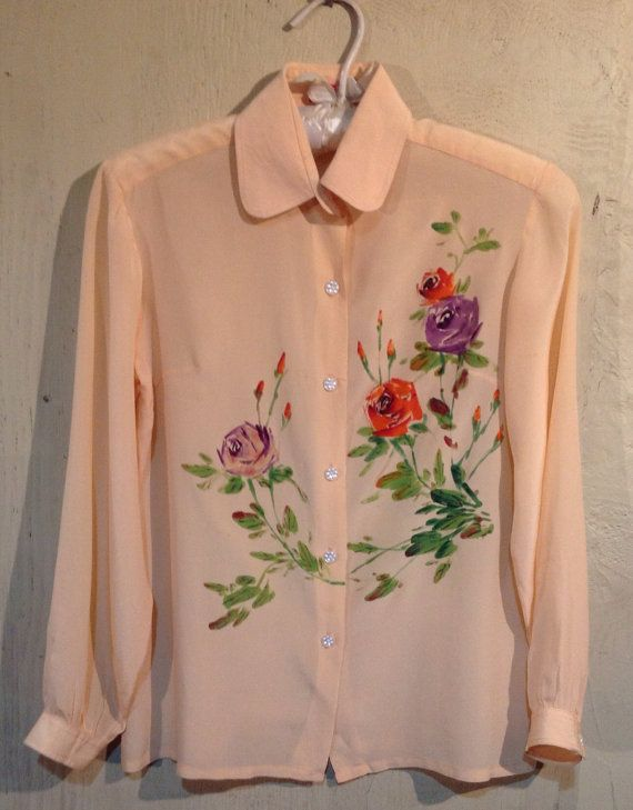 1940's Hand painted Pink Blouse on Etsy, $110.00