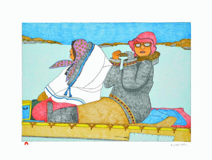 "Item # P14CD06 Price: C$400 Title: Snapshot Dated: 2014 - Signed Artist: Ashoona, Kudluajuk    Edition: 50  Community:  Link   Cape Dorset     Ref: Print #6 of the 2014 Cape Dorset Collection  Size: inches/cm 20"" x 26"" 50.8 cm x 66 cm Style: Lithograph Paper: BFK Rives white http://www.inuitarteskimoart.com/images/P14CD06L.jpg"