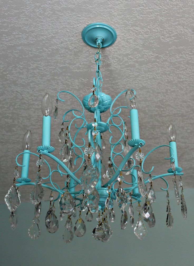 """""""CRYSTAL"""" Turquoise and crystal vintage chandellier"""