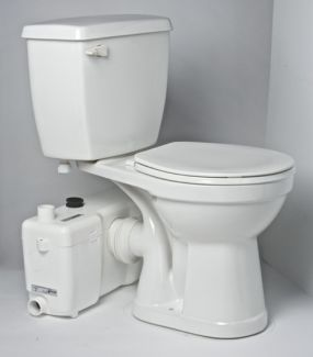 If the drainpipes of a basement in-law suite are below the city sewer main, youll need to pump wastes up to the main--by using a sewerage ejection pump or a macerating toilet unit, shown here. Macerating toilets sit atop the floor, so theres no need to cut a trench for pipes.