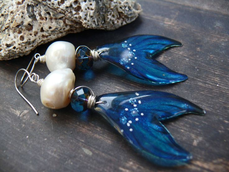 The Mermaid's Tale - artisan blue silver pearl resin mermaid tail long romantic beach earrings by PreciousViolet on Etsy
