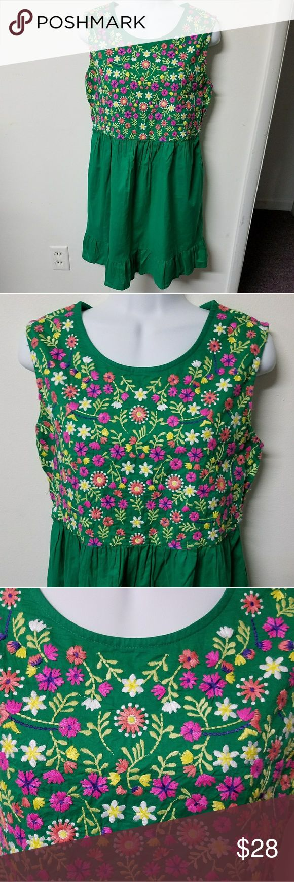 ADORABLE Green VINTAGE Floral Cotton dress GUC Up for sale is a Super CUTE Cherokee brand Green and Pink Floral dress. It is in great condition, no flaws. Tagged a girls XL, but should fit juniors medium and women's XS-S. 100% Cotton. SO wish I was this size ha! Super cute pin up/ hippie vibes!   17 inches pit to pit, 33 inches long.   Thanks for looking and please ask any questions!! ❤❤ Cherokee Dresses