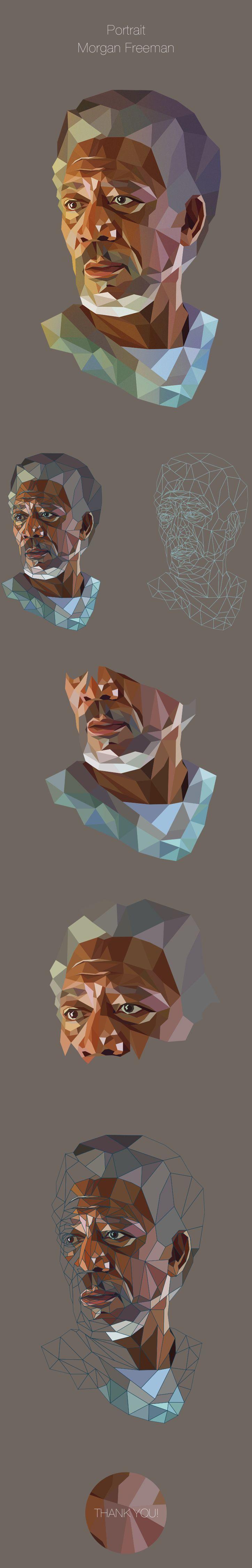 Morgan-Low Poly Portrait on Behance