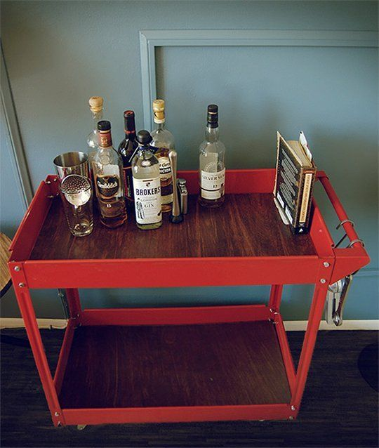 Cheap, Easy DIY Project: Stylish, Modern Bar Cart Hack for Under $40 Primer Magazine | Apartment TherapyModern Bar, S'More Bar, S'Mores Bar, Industrial Bar, Carts Hacks, Bar Carts, Primers Magazines, Easy Diy, Diy Projects