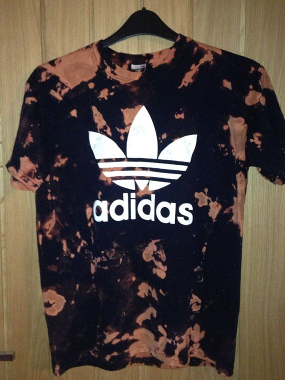adidas originals logo t shirt in black bleached tie dye by
