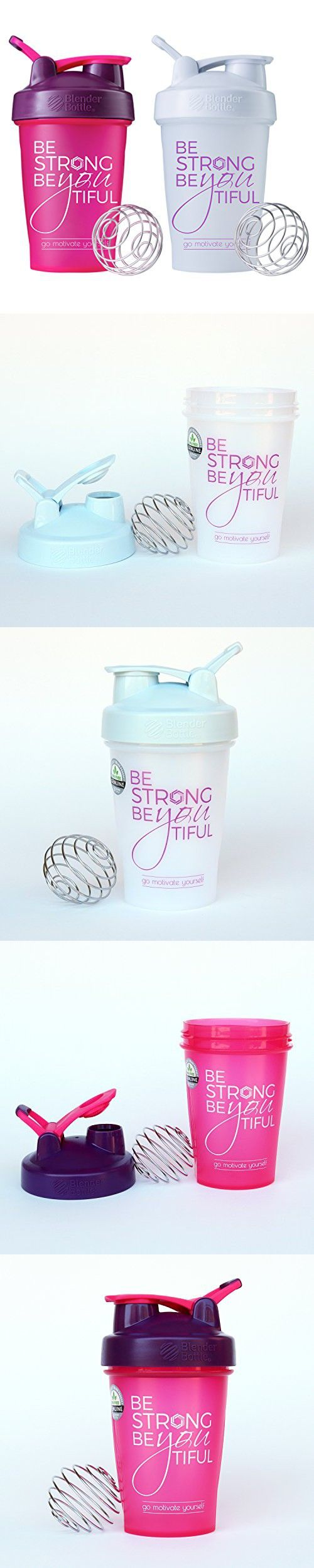 Be Strong BeYOUtiful Blender Bottle, 2 - 20oz Classic Protein Shaker Cup (Pink/Plum and White Combo - 20oz)