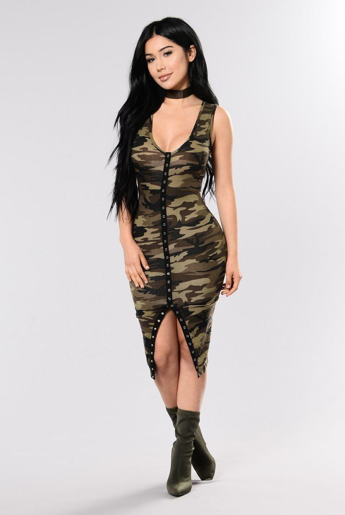 - Available In Camo - Printed Camo Dress - Sleeveless - V Neckline - Functional Snap Buttons on Hem Slit Only - 94% Polyester 6% Spandex