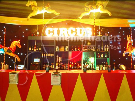 Carnival Theme Party for Adults | circus props circus cannons circus peep through boards circus theming