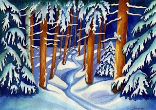 """Andrea's Art Studio """"A Wooded Wintry Night"""" Watercolor by Andrea Levasseur: Watercolor"""