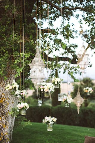 Hanging flowers and lanterns | Les Amis Photo | see more on: http://burnettsboards.com/2015/05/midsummer-nights-dream-tuscany-wedding/