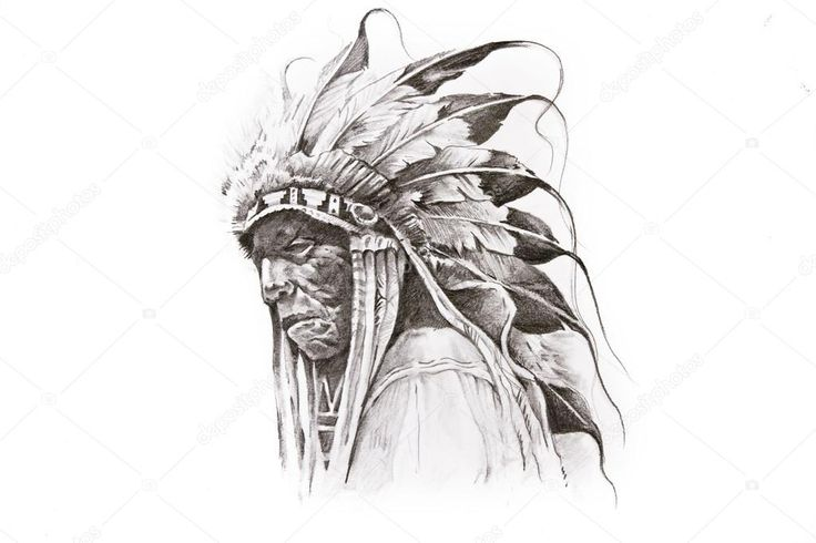 Tattoo sketch of Native American Indian warrior hand made — Stock ...