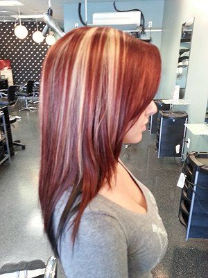 Cherry Bomb color with blond highlights.