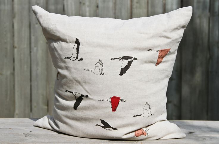 Geese Pillow by Jen Kneulman of  Freshly Printed in the Distillery District in Toronto.