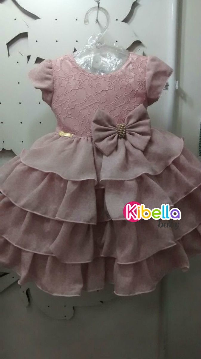 Vestido infantil de Festa c/ babado Rosa